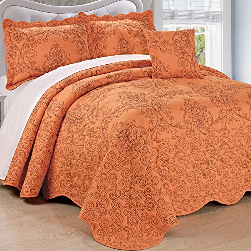 Home Soft Things Serenta Damask 4 Piece Bedspread Set, King, Nectarine