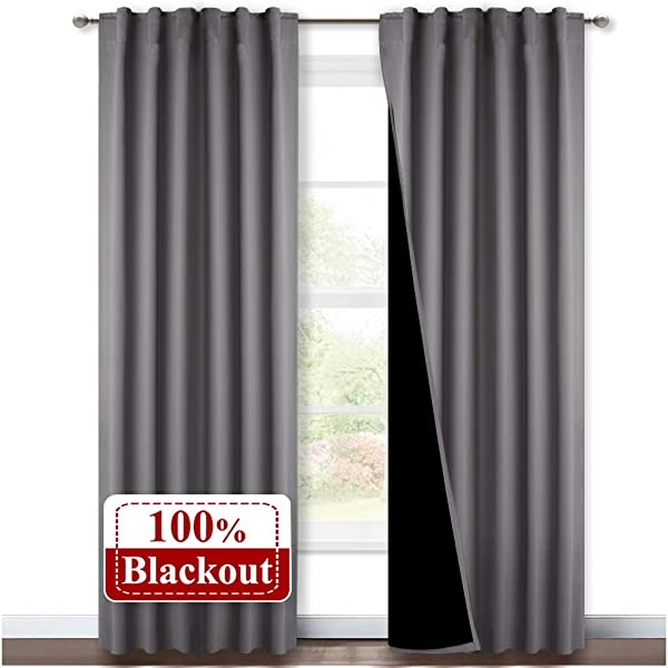 NICETOWN Grey Full Shade Curtain Panels Pair Of Energy Smart Noise Blocking Out Blackout Drapes For Sliding Glass Door Thermal Insulated Guest Room Lined Window Dressing Gray 52 X 84 Inch