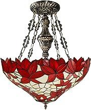 Red Maple Leaf LED Plafondlamp Tiffany Stijl Mediterraan Gebrandschilderd Glas Kroonluchter Retro Warm Light Woonkamer Sla...