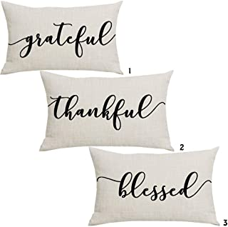 WENIANRU Set of 3 Black Word Art Grateful Thankful Blessed Thanksgiving Day Home Sofa Chair Bed Decoration Lumbar Pillowca...