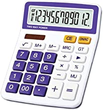 $31 » BAYUESHOP Calculator Calculator Calculator 12-Digit Display Solar Battery Dual Power Calculator Office Bank Financial Special Calculator (Purple) Office Calculator