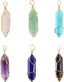 Wholesale 6 PCS Natural Quartz Crystal Pendant Handmade Wire Wrapped Quartz Healing Chakra Reiki Charm Bulk for Jewelry Making (Assorted)