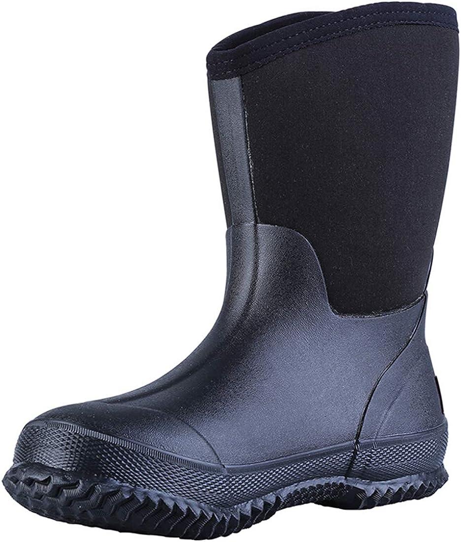 TENGTA Men's Waterproof Fishing Hunting Boots Durable Insulated Rubber Neoprene Rain Boots Womens Winter Snow Work Shoes