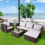 Bigzzia 5 Pieces Patio Furniture Set 6 Seat Rattan Loveseat Wicker Patio Sofa Outdoor Sectional Conversation Set with Cushion and Glass Table