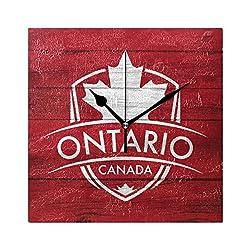 Franzibla Ontario Province Canada Maple Leaf Flag 7.87 Inch Battery Operated Decorative Wall Clock, Quartz Clock For Bedrooms, Living Room, Bathroom