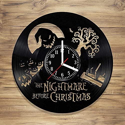 GVSPMOND Pesadilla Antes De Navidad Reloj De Pared De Vinilo Decoración Clásica Estilo del Hogar Regalo Creativo Único para Tus Amigos