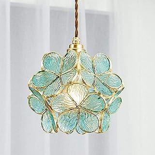Lámpara decorativa de araña de cristal de cobre completo dormitorio cálido puerta de noche pasillo pasillo lámpara de pétalo anillo protección ojo-Araña de pétalos azules de patrón de agua