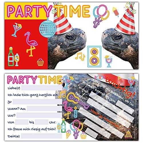 12er Set SCHILDKRÖTEN Einladungskarten - edle & witzige Einladung zum Kinder-Geburtstag oder Party für Mädchen Jungen & Erwachsene von BREITENWERK