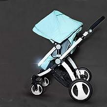 YXCKG Silla de Paseo Ligera antichoque Springs para bebés y niños pequeños Carro de Cochecito Plegable y portátil con toldo Ajustable Cochecito de bebé High View (Color : Green)