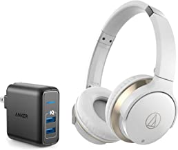 Audio-Technica ATH-AR3BTBK SonicFuel Bluetooth Wireless On-Ear Headphones Bundle with Anker 2-Port USB Wall Charger - White