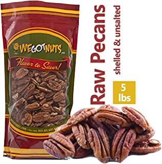 5-Pounds of 100% Natural Raw Pecan Nuts- Whole, Shelled & Unsalted Pecan Halves by We Got Nuts- Non GMO, No...