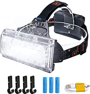RICHJOLY LEDヘッドライト USB充電式ヘッドライト 三つモード 2000ルーメン 120°広角照明 120度角度調整 防水 高輝度 3本18650型電池/4枚ヘルメットホルダー/USB充電ケーブル付き 登山/防災/夜釣り/キャンプ/作業用