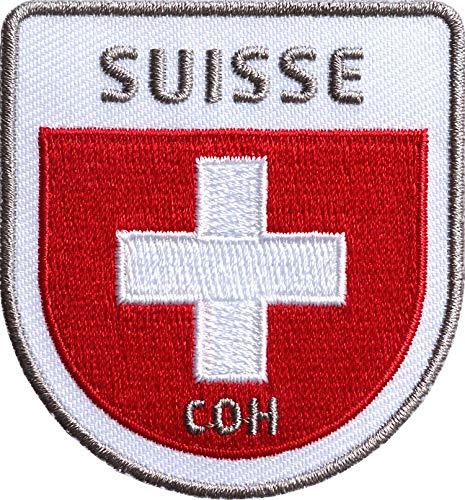 2 x Schweiz Flag Patch 58 x 62 mm hochwertig gestickt / Aufbügler Aufnäher Flicken zum bügeln aufnähen auf Kleidung Cap Rucksack / Suisse Flagge Fahne Wappen Reiseführer Outdoor Sport Wandern