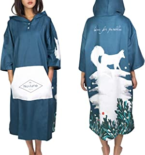 Nu-June Beach Poncho Surfing Hooded Changing Towel Thick Microfiber Poncho Robe Anti-UV Warm Women Men Wetsuit Quick Dry One Size Blue White Fox NUBCN-D008