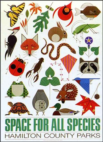 """Charley Harper Poster """"Space for All Species"""""""