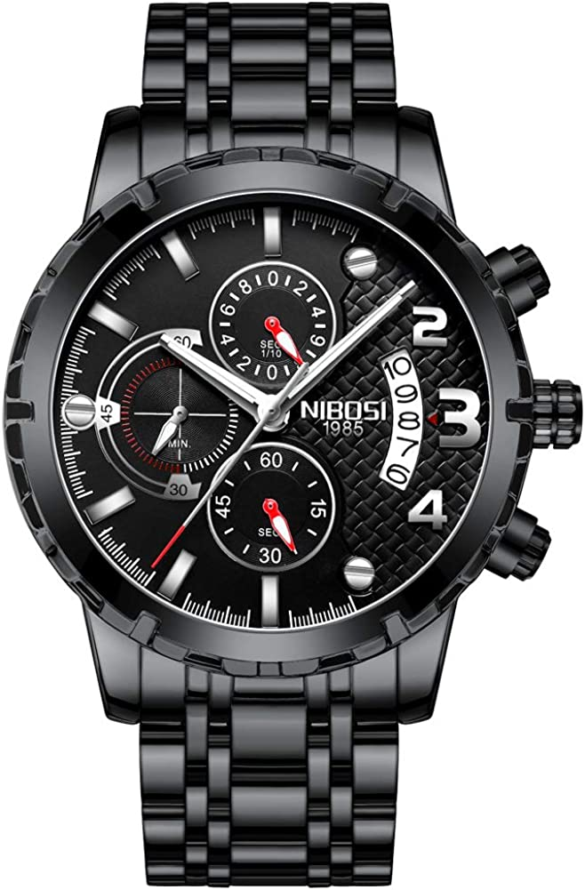 NIBOSI Men's Max 55% OFF Chronograph Quartz Watch Stainless sold out Steel with Strap