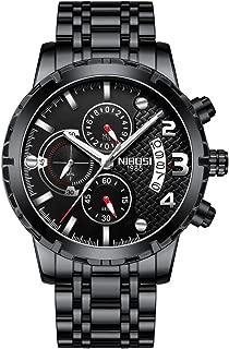 Men's Chronograph Quartz Watch with Stainless Steel Strap Black Wristwatches for Men Calendar Date Watch