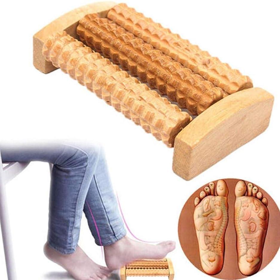 憧れ取り出す一貫性のない木製フットマッサージャー高品質木製 5 行応力除去治療リラックスマッサージローラー健康 足ケアマッサージツール