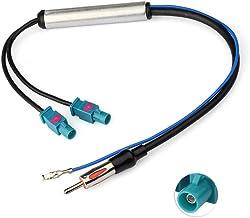 Eightwood Antena Dab Am/FM Adaptador DIN Fakra Z Enchufe Dab Doble Divisor con Amplificador Cable de Alimentación 30cm para Radio Aficionado Blaupunkt Pioneer Clarion Kenwood Alpine