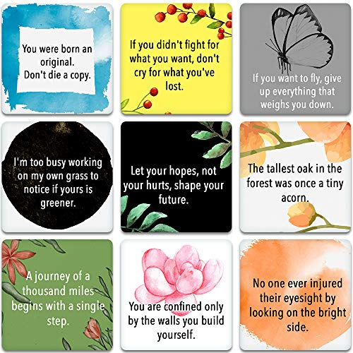 100 Motivational Quote Cards - Thought-provoking Quotes, Stimulating Encouragement and Inspirational Cards - 3.5in x 3.5in Cards