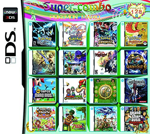 208 juegos en 1 DS game pack Super Combo DS de juego para DS NDS NDSL NDSi 3DS XL Nuevo