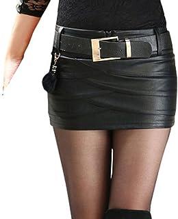 Hongxin - Minigonna da donna, in pelle sintetica, a vita alta, con cerniera, plissettata, aderente, sexy Nero Nero 2