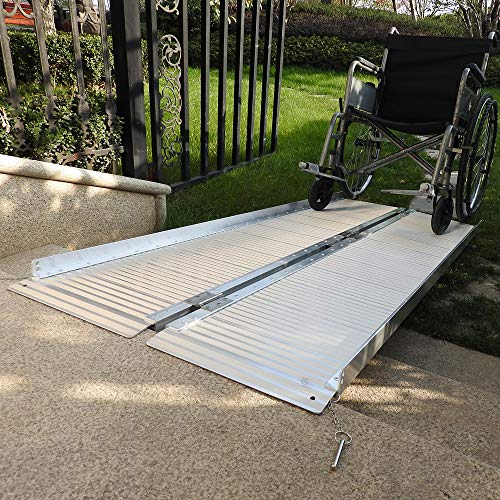 Goujxcy Threshold Ramps 6' Portable Folding Aluminum Wheelchair Threshold Ramp with Ribbed Surface and Carrying Handle