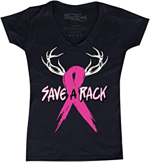 Shop4Ever Save A Rack Women's V-Neck T-Shirt Breast Cancer Shirts Slim FIT
