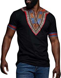 Makkrom Mens African Dashiki T Shirt Tribal Floral Print V Neck Slim Fit Shirts Tops