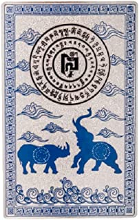 DMtse Feng Shui Blue Rhino Elephant Anti Burglary Talisman Card