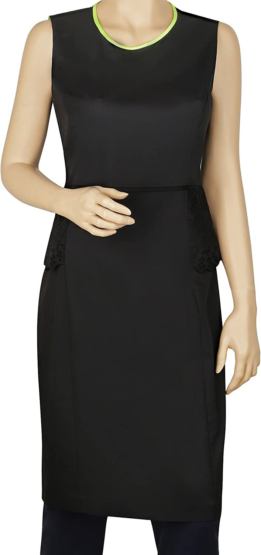 Elie Tahari Women's Judy Black Cotton Peplum Sleeveless Knee-Length Dress