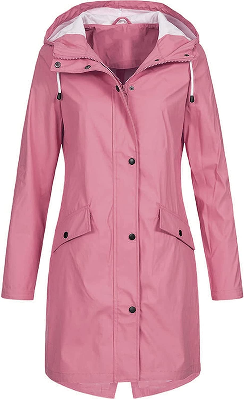 Rain Coats for Women Waterproof Lightweight Hooded Jackets Solid Zip Up Casual Long Windbreaker Tops Plus Size Sweatshirts (5X-Large, A1~Pink)