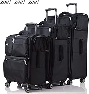 Trolley Bags,Large Capacity Ultra Light 4 Wheel Carry on Spinner Travel Hand Cabin Suitcase Multifunctional Soft Box Family Pack,Black,20inch