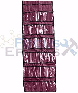 focusepart 22 Pocket Shoe Organizer Spacer Saver Rack Hanging Closet Rod Storage - Burgundy