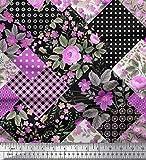 Soimoi Lila Satin Seide Stoff dot, Blumen & Check Patchwork