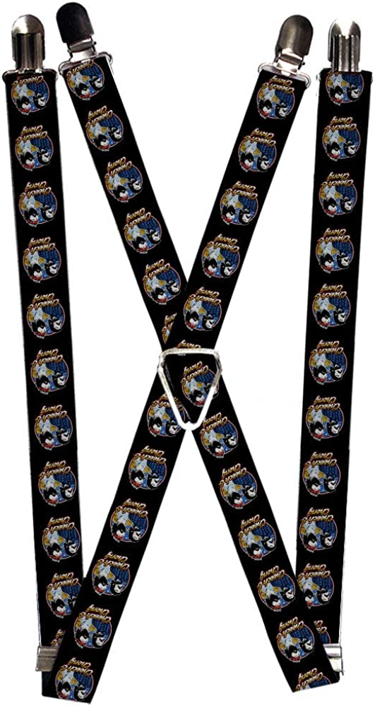Suspenders Cheech and Chong Next Movie Pose Black Red Blues Golds 1.0 Inch Wide