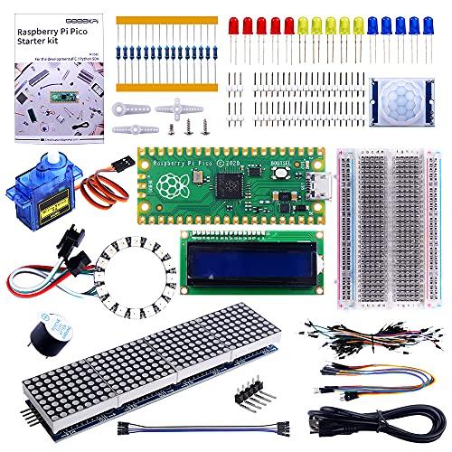 GeeekPi Raspberry Pi Pico Basic Starter Kit avec Raspberry Pi Pico breadboard, en-tête, Module LCD I2C 1602, MAX7219 8 x 32 Matrix RGB 4In1 pour Les débutants et l'ingénieur Logiciel Raspberry Pi