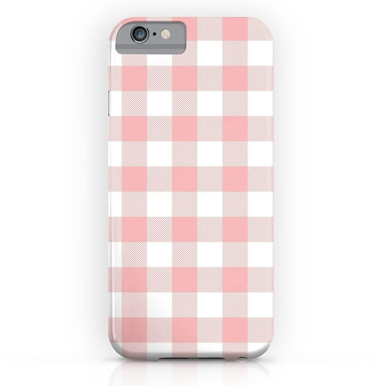 EZON-CH Customize Personalize Smooth Skin Coral Checker Gingham Plaid Waterproof Slim Protective PC Phone Case Cover Phone Protector For Iphone 8 Plus With Tempered Glass Screen Protector