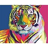 OKOUNOKO Peinture Au Numéro Enfant Tête De Tigre Colorée Dessin À Colorier des Photos Moderne Kits De Bricolage Ouvrages d'art Maison Décoration Cadeau 40X50Cm sans Cadre