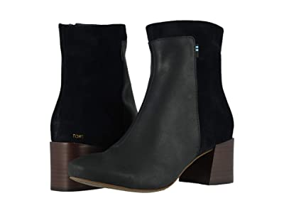 TOMS Emmy (Black Leather/Pig Nubuck) Women