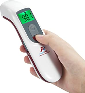 Amplim Hospital Medical Grade No Touch Non Contact Digital Infrared Temporal Forehead Thermometer for Adult/Baby/Kid/Toddler/Infant/Nurse. Best for Head Fever Temperatures Termometro - Red
