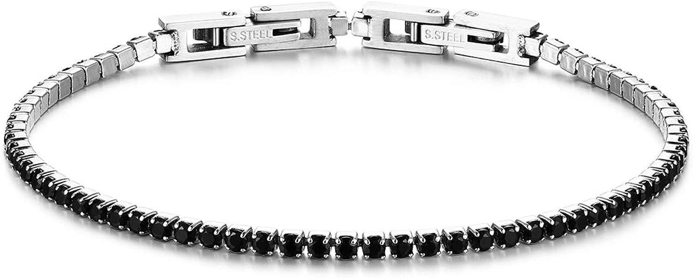 JewelryWe Pulsera para mujer de acero inoxidable con circonitas, pulsera de tenis, brazalete, tobillera extraíble, pulsera de pareja, pulsera de la amistad, pulsera de pareja, color negro y blanco