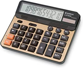 $45 » Yusuo Desktop Calculator 12-Digit LCD Display Standard Function Calculator, Dual Power Solar Office Calculator Champagne Gold Suitable for Daily Office