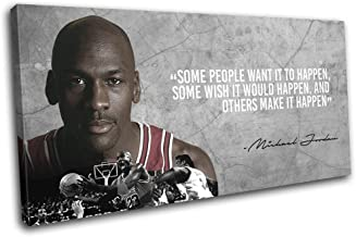 Bold Bloc Design - Michael Jordan Bulls NBA Quote Sports 80x40cm Single Canvas Art Print Box Framed Picture Wall Hanging -...