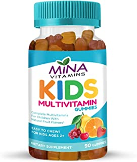 Mina Vitamins Kids Formula Halal Multivitamin Gummies: Vitamin A, C, D, E, B6, B12 - Great Tasting Natural Fruit Flavors -...