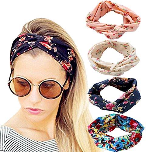 DRESHOW 4 Stück Damen Stirnband Elastische Weiche Stirnbänder Kopfband Haarband Kopf Wickeln Niedlich Haarschmuck für Alltag Yoga Sport Fitness