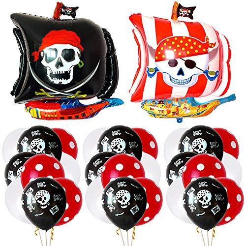 BESTZY 22 Stück Piraten Party Luftballons, Piraten Luftballons Set Geburtstag Party Dekoration Folienballons Piraten, Luftballons Pirat, Rote Pailletten Ballons, Weiß Ballons