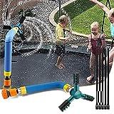 SZSMD Trampolin Sprinkler, Trampolin Zubehör Wassersprinkler, Trampolin Spray 360° Drehbare Düse, Outdoor und Yard Wasser Spiele Spielzeug, Spaß Sommer Wasserpark für Kid Adult