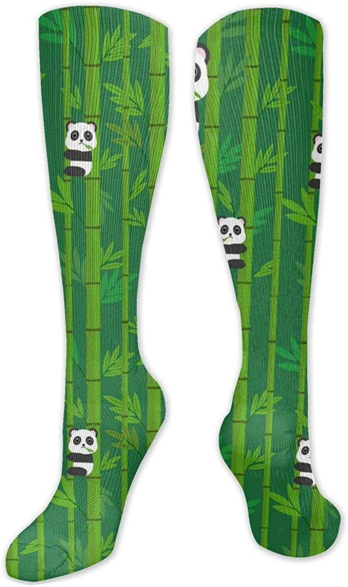 Panda Green Bamboo Knee High Socks Leg Warmer Dresses Long Boot Stockings For Womens Cosplay Daily Wear