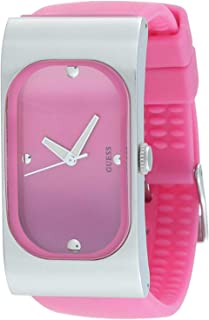 Guess I50352L5 Silicone Rectangle Analog Watch for Women - Pink